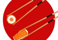 Sushi roll red caviar and shrimp in chopsticks isolated on the J